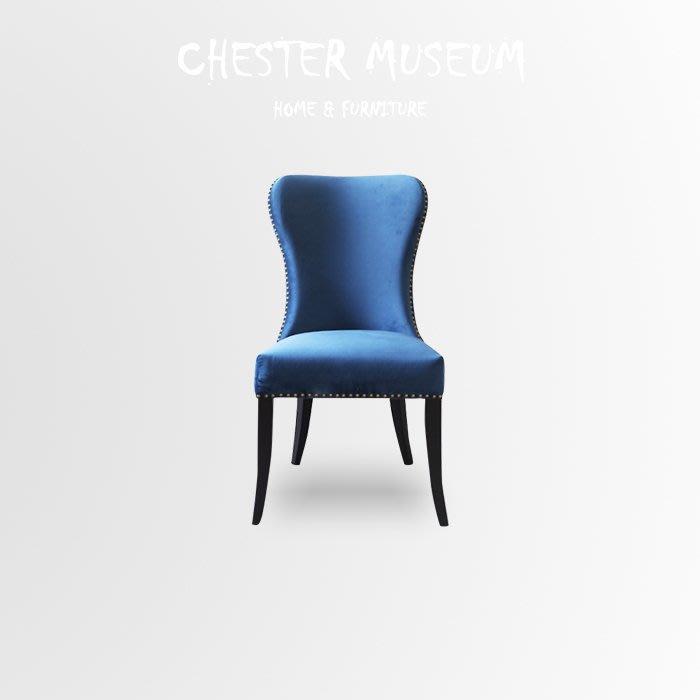 北歐海島藍絨布餐椅 餐椅 北歐風 椅子 北歐風餐椅 北歐風 椅子 化妝椅 賈斯特博物館 網紅 網美 拍照 打卡 IG
