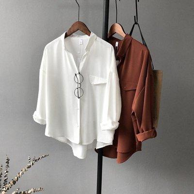 春款上衣V領雪紡襯衫女長袖翻領韓版寬鬆bf白色學生襯衣