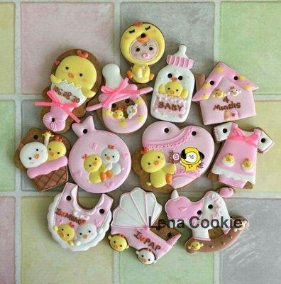 可接急單 收涎餅乾 雞寶寶系列 12片 女寶寶 粉色系 糖霜餅乾 生日禮物 手工餅乾 不挑款(Lena Cookie)