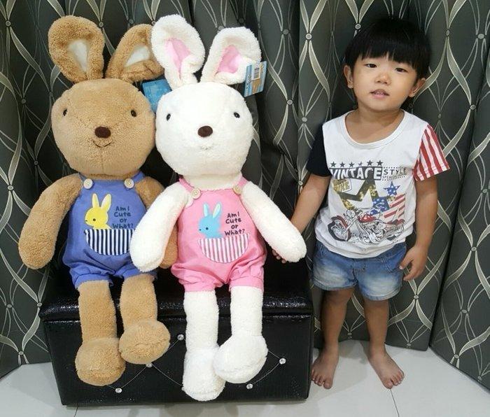 拉拉小站~可愛法國兔娃娃~兔子娃娃~高82公分~小白兔娃娃~人氣玩偶