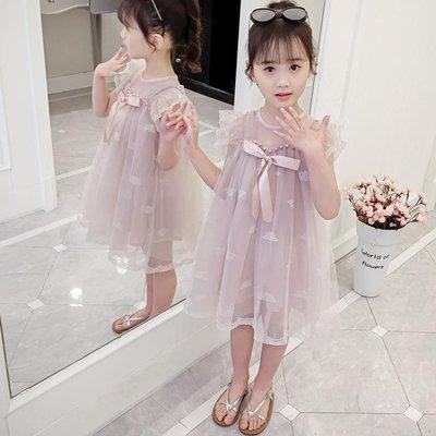 洋裝 連身裙兒童裙子夏季2019新款童裝 韓版中大童蝴蝶結網紗蓬蓬裙