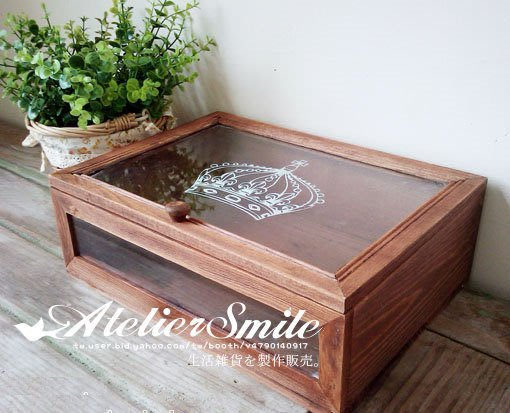 [ Atelier Smile ] 鄉村雜貨 日單新品 長型皇冠原木玻璃首飾收納盒 雜物盒  (現+預)