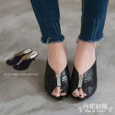 高跟拖鞋 都會感頂級奢華 魚口 V領口 寶石跟鞋 拖鞋 牛皮 MIT 台灣手工鞋 丹妮鞋屋