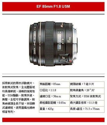 全新 Canon 85mm EF f1.8 USM 【彩虹公司貨】Canon EF 85 mm f/1.8 USM