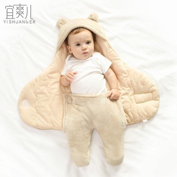 兒新生兒抱被寶寶秋冬季加厚襁褓包巾初生嬰兒春秋款睡袋用品