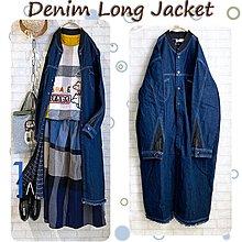 日貨Denim Long Jacket 雙層棉牛仔銅釦長版棒球外套-深藍 Size F(M~L+)