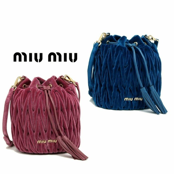 MIU MIU ►(紫色/海軍皇室寶藍色)皺摺包  絨布×真皮 手提包  斜背包 肩背包 |100%全新正品|特價!
