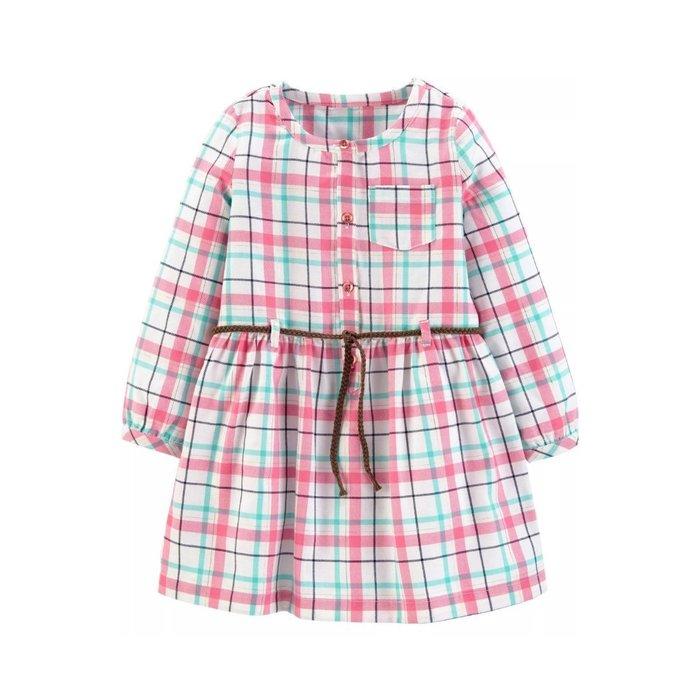 【Carter's】CS女童W洋綠粉白格款 F03190828-15