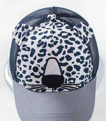 【寶貝妞】 2016進口外貿韓 可愛藍灰色男女生適合豹紋圖紋透氣網印花純棉兒童帽 透氣遮陽帽子 棒球帽