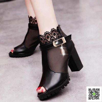 魚嘴高跟鞋 魚嘴鞋新款鏤空羅馬女鞋子單鞋網紗涼鞋女夏季高跟鞋粗跟中跟 玫瑰女孩