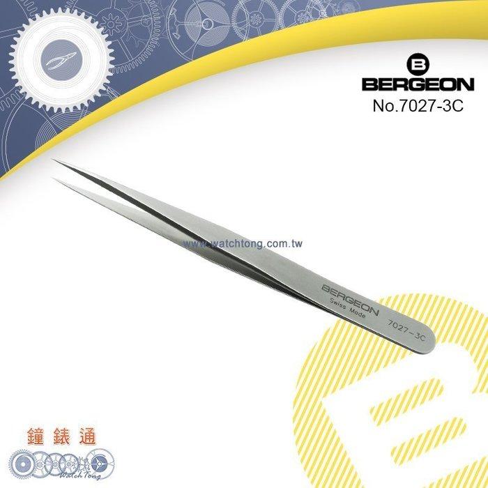 【鐘錶通】B7027-3C《瑞士BERGEON》Inox高硬度鑷子_超硬鋼質/可帶磁性├鑷子夾子/鐘錶維修/DIY工具┤