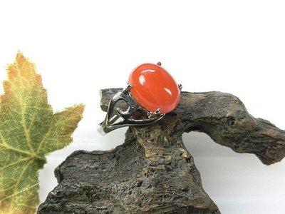 □§Disk的天然水晶§□【極品南紅】滿色柿子紅 南紅瑪瑙925純銀鑲嵌戒指(活口)HL-38