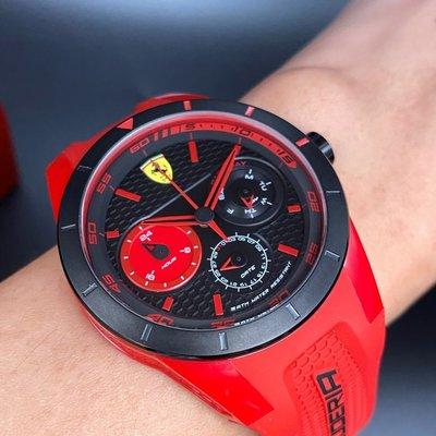 FERRARI法拉利男女通用錶,編號FE00007,44mm黑, 紅圓形塑膠錶殼,黑色三眼, 運動錶面,紅矽膠錶帶款