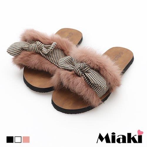 拖鞋.絨毛時尚千鳥格平底鞋【FW18T010】Miaki
