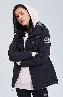 小阿姨shop The North Face北面女款黑色防風防水衝鋒衣|3V3WJK3