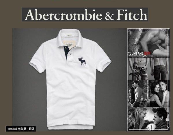 有型男~ A&F Abercrombie&Fitch 旗艦店大麋鹿polo Hebert Brook 白 M L 2XL