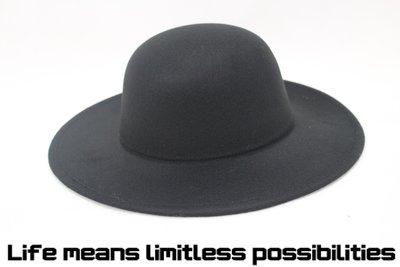 黑色圓頂超寬素面沿紳士帽 Wide brim hat 歐美 復古 百搭  軟毛呢 超大帽簷 【LtLf】