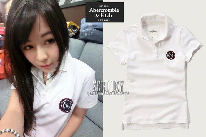 【零時差美國時尚網】A&F Abercrombie&Fitch Embroidered Logo Slim Polo衫白