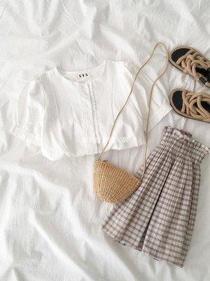 集美屋韓國女裝很仙的短袖襯衫春季2019新款女裝正韓百搭圓領單排扣蕾絲邊上衣潮