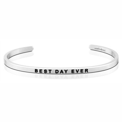 MANTRABAND 美國悄悄話手環 Best Day Ever 最好的一天 銀色手環