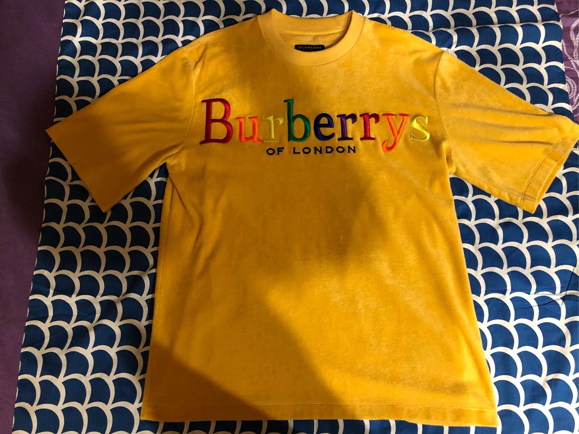 Burberry 典藏徽章毛巾布彩虹短T