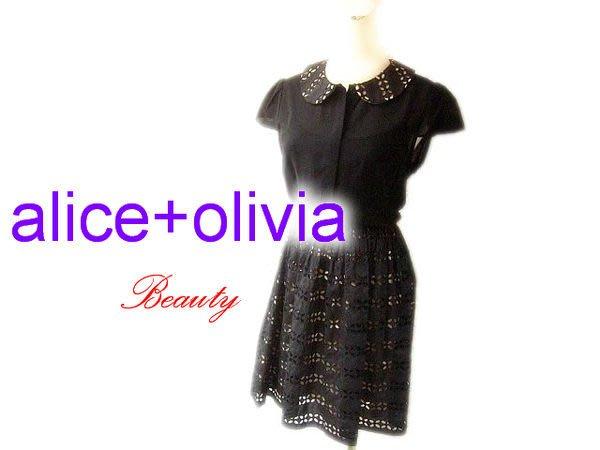 *Beauty*alice+olivia黑色蕾絲裙擺短袖洋裝 WE 小包袖 原價25900 濱崎步 關穎