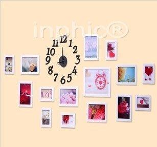 INPHIC-創意實木照片牆框畫 掛畫 15FG相框組合時間的記憶 帶掛鐘沙發背景相片牆