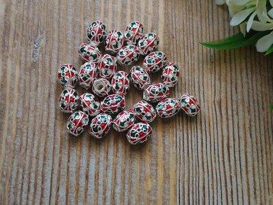 簡單Simple。現貨。17號。天然泰國鎏銀琺瑯珠/手工材料配飾。配件。1個30元。