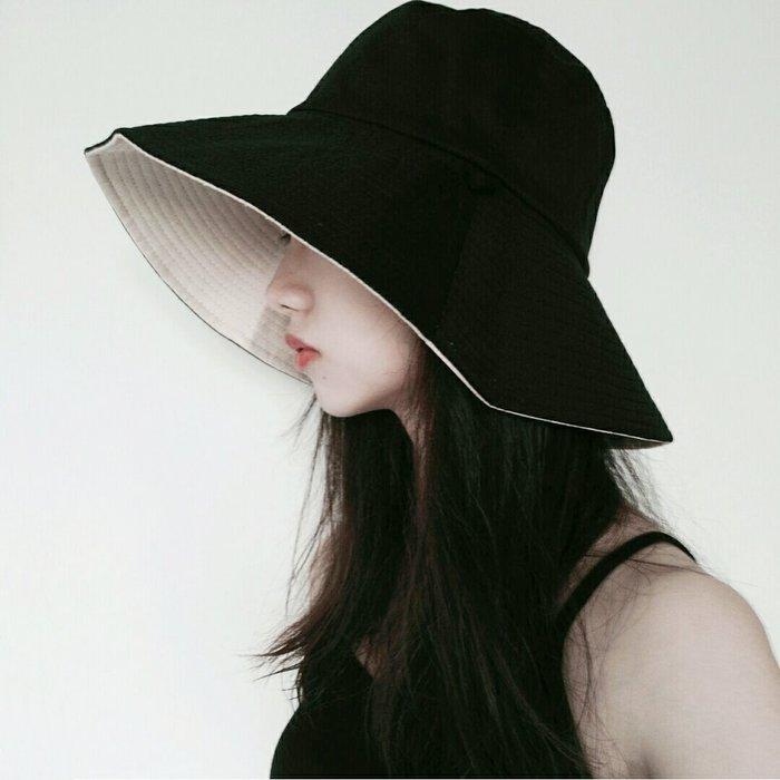 SeyeS 基本款街頭百搭自然風雙面雙色大帽簷遮陽帽/漁夫帽