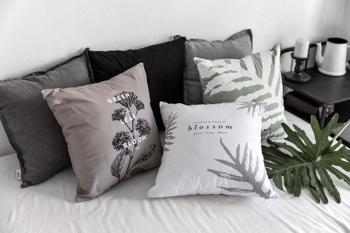 - Meiprunus -原創 設計 沙發墊 床頭 靠腰 抱枕 靠枕 全棉布 簡約 綠底貫眾蕨/白底貫眾蕨/灰底乾燥花