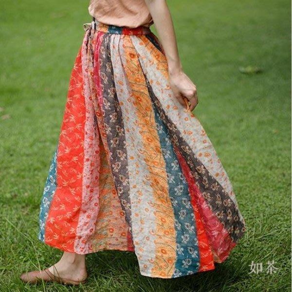 【如茶】波西米亞風雙層鬆緊腰印花高級細苎麻大擺長裙