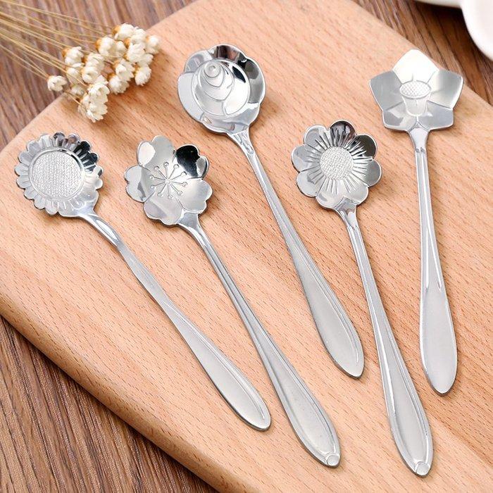 衣萊時尚-日式創意可愛櫻花勺不銹鋼咖啡勺長柄攪拌勺甜品勺小花瓣勺子餐具(買多件有優惠)