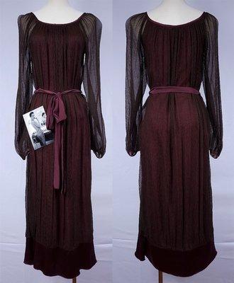 舒淇二手精品 ~ 法國JASMIN SANTANEN紅酒紫浪漫絲質洋裝(定價再享95折)