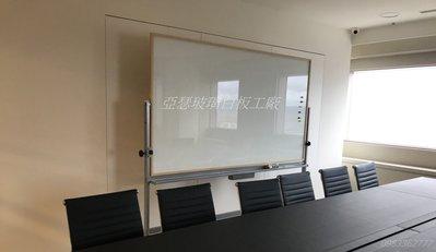 亞瑟 玻璃白板+活動架鐵架+木框 防眩光玻璃 磁性玻璃 白板玻璃 投影玻璃白板 客製化訂做 優惠中 台北市