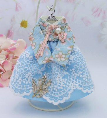檸檬手作飾品   淺藍燙金粉櫻花蕾絲韓服手作鑰匙圈/包包吊飾