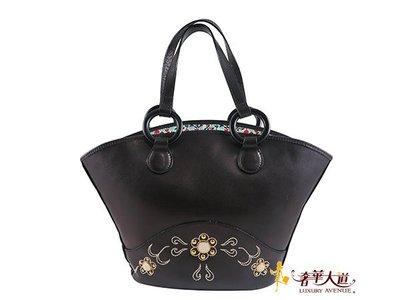 *奢華大道二手名品會館*【AS016】Anna Sui黑色全皮扇形肩背包