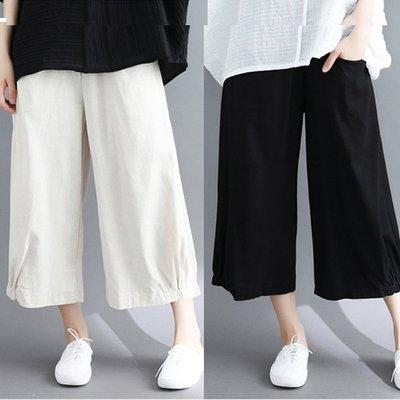 好質感 寬褲純色彈性腰棉麻褲裙【YY0626】中大尺碼闊腿褲