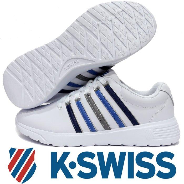 鞋大王K-SWISS 06165-145 白×藍×灰 3D鞋底皮質休閒運動鞋,記憶鞋墊【免運費,加贈鞋油和襪子】816K