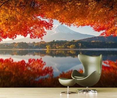 客製化壁貼 店面保障 編號F-672 楓葉富士山 壁紙 牆貼 牆紙 壁畫 背景牆 星瑞 shing ruei