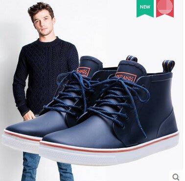 好雨時節 雨鞋男式短筒低幫防滑釣魚雨靴休閑系帶時尚潮冬季保暖