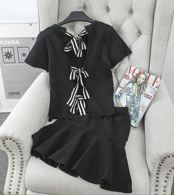 ❤Shinena 千奈公主❤小香風背面性感蝴蝶結綁帶短袖針織上衣+魚尾短裙【 Q3-0308】