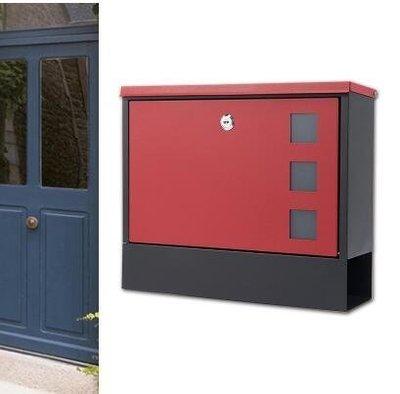 『格倫雅品』別墅信報箱室外掛牆戶外帶鎖鐵藝防銹防雨-紅色門+黑底
