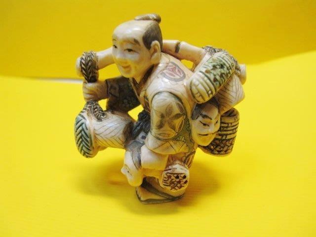 一品軒收藏品]早期收藏老象牙雕小擺件[日本牙雕名家作品]落款.山口