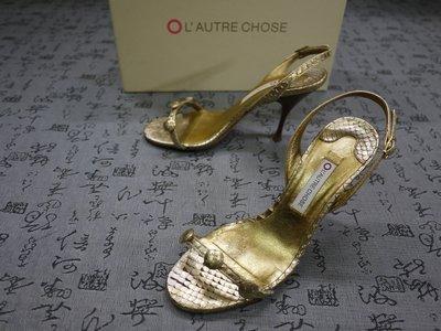 義大利製 L'AUTRE CHOSE 高級蛇皮粗跟涼鞋 EUR 35 USA 5.5 JPN 22.5