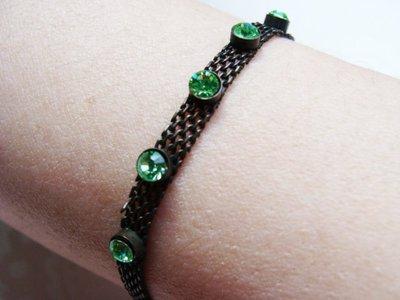 嗨,寶貝手創飾品工作室* 復古風-綠色水晶手鍊