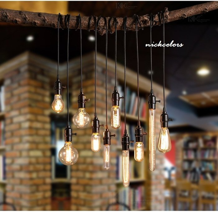 尼克卡樂斯~復古愛迪生燈泡吊燈  工業風吊燈 E27燈頭 110V  單頭吊燈 鎢絲燈泡吊燈