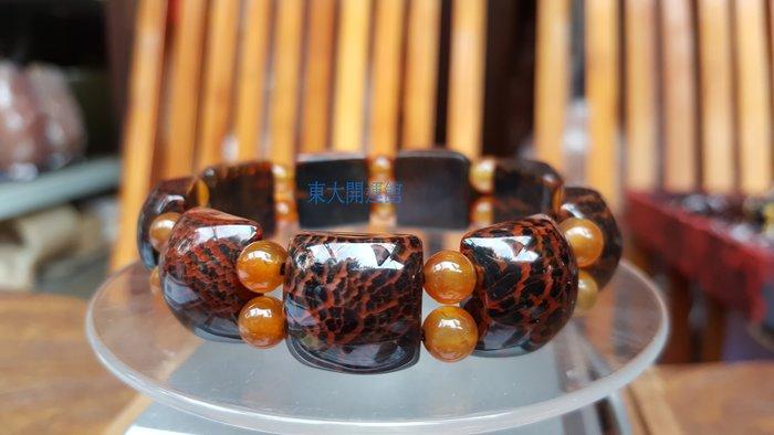 西藏瑪卡天珠材質龍麟玉髓活玉寶石手鍊手排板珠 天然純淨老礦新採  磁場乾淨 能量強 【東大開運館】