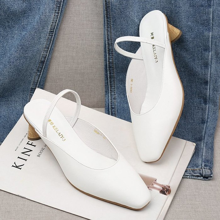 Venaessa韓國現貨女鞋包頭涼鞋女2020夏季粗跟真皮穆勒鞋小碼中跟復古后空方頭單鞋拖鞋