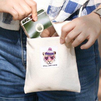❅PAVEE❅ 韓國Still and Chew~Mini Cross Ecobag (M) 潮流花豹帆布隨身斜背包