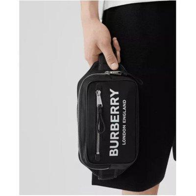 【二手正品】BURBERRY London款 黑色 Logo  標誌印花 尼龍腰包 顏值高
